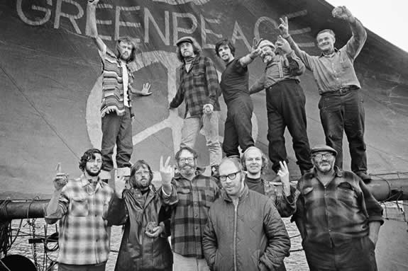 Group portrait of Greenpeace setting sail for Amchitka