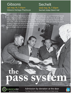 'The Pass System' poster - screening Wed May 18, SIB Hall, Sat May 14, Gibsons Heritage Playhouse